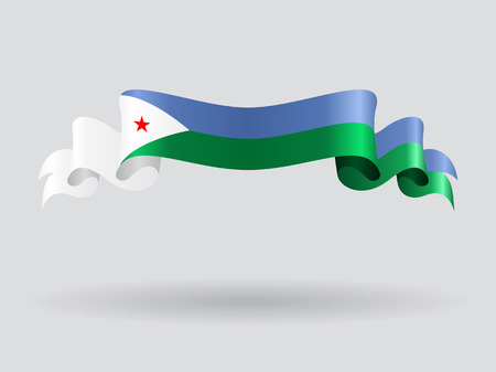 Djibouti wavy flag. Vector illustration.
