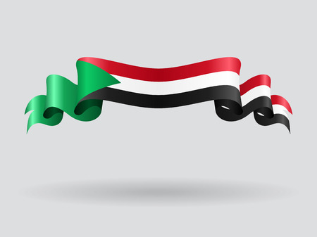Sudan: Sudan wavy flag. Vector illustration.