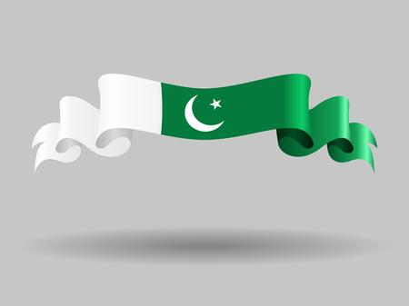 Pakistani wavy flag. Vector illustration. Illustration