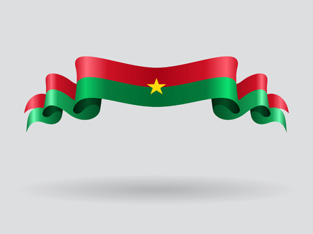 Burkina Faso wavy flag. Vector illustration.