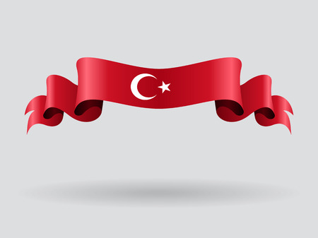 Drapeau ondulé turc. Illustration vectorielle.