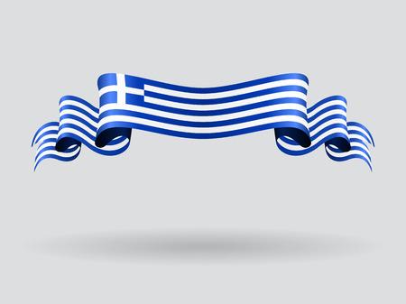 Griechische wellige Flagge. Vektor-Illustration.