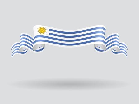 Uruguayan wavy flag. Vector illustration.