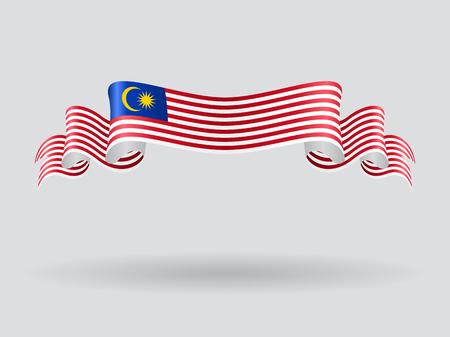 Malaysian wavy flag. Vector illustration.