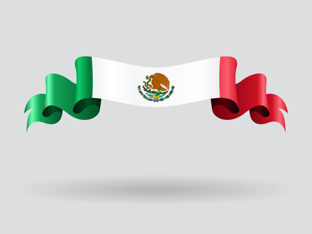 Mexican wavy flag. Vector illustration.