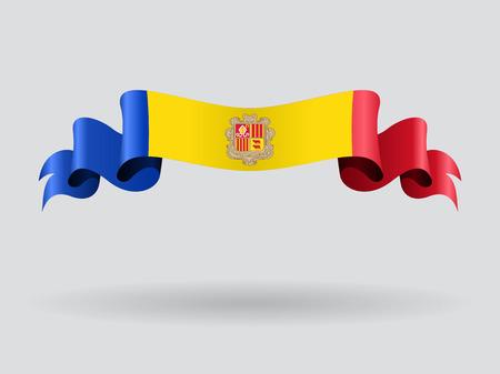 Andorran wavy flag. Vector illustration. Illustration