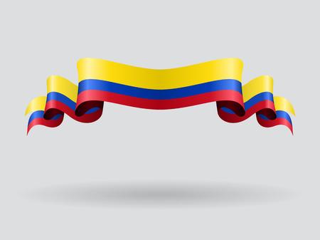 Drapeau ondulé colombien. Illustration vectorielle Vecteurs