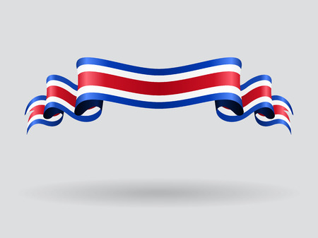 Costa Rican wavy flag. Vector illustration.
