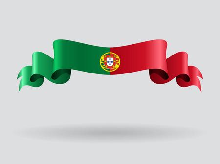 portuguese: Portuguese wavy flag. Vector illustration. Illustration