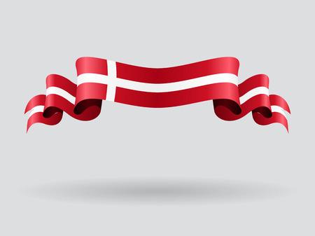 Danish wavy flag. Vector illustration.