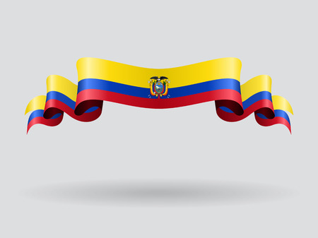Ecuadorian wavy flag. Vector illustration.