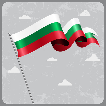 bulgarian: Bulgarian wavy flag. Vector illustration. Stock Photo