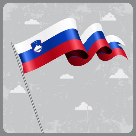 slovenian: Slovenian wavy flag. Vector illustration.