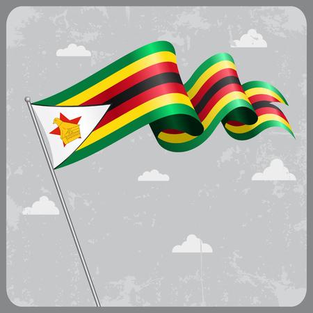zimbabwe: Zimbabwe wavy flag. Vector illustration. Illustration