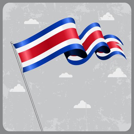 costa rican flag: Costa Rican wavy flag.