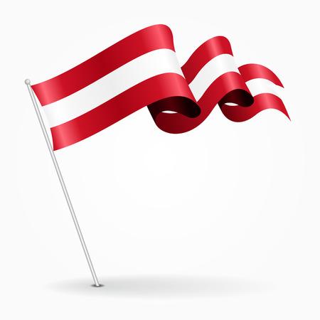 Austrian pin wavy flag. Vector illustration.