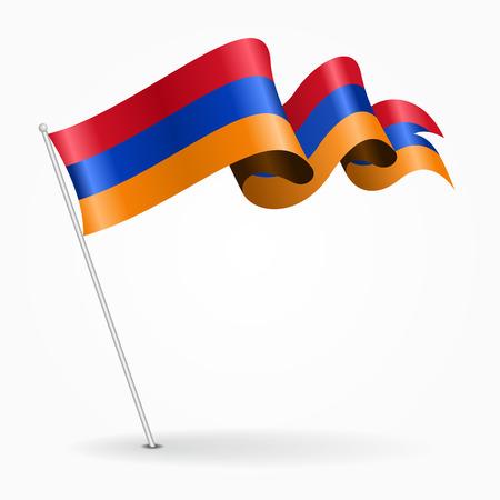 Armenian pin wavy flag. Vector illustration.