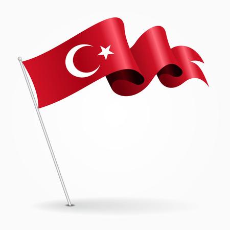 Turkish pin wavy flag. Vector illustration.