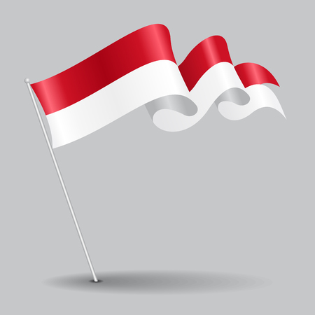 Indonesian pin wavy flag. Vector illustration.