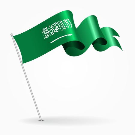 Saudi Arabian pin wavy flag. Vector illustration.