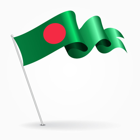 Bangladeshi pin wavy flag. Vector illustration.