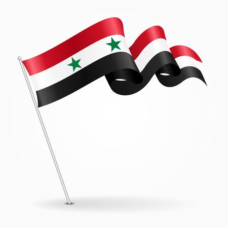 Syrian pin wavy flag. Vector illustration.