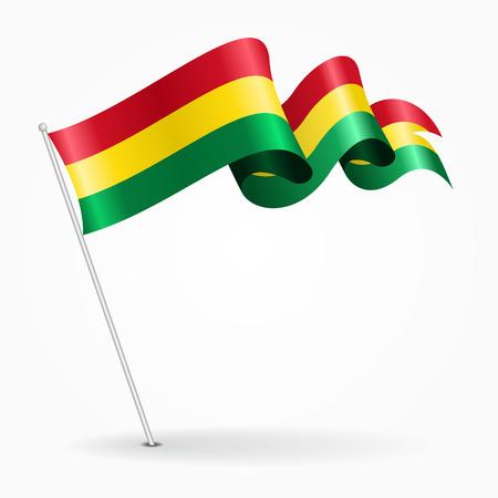 Bolivian pin wavy flag. Vector illustration.