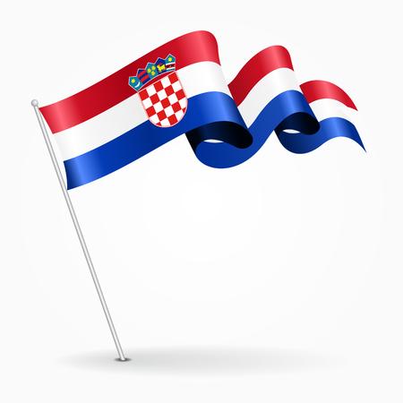 Croatian pin wavy flag. Vector illustration.