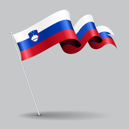 Slovenian pin wavy flag. Vector illustration.