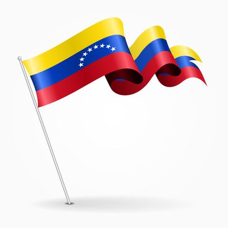 Bandera ondulada pin venezolano. Ilustración vectorial Vectores