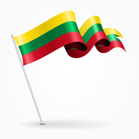 Lithuanian pin wavy flag. Vector illustration.