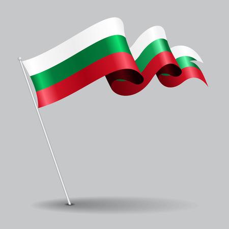 Bulgarian pin wavy flag. Vector illustration. Illustration