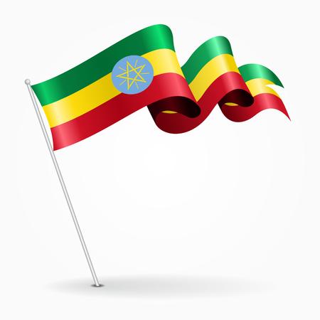 Ethiopian pin wavy flag. Vector illustration.