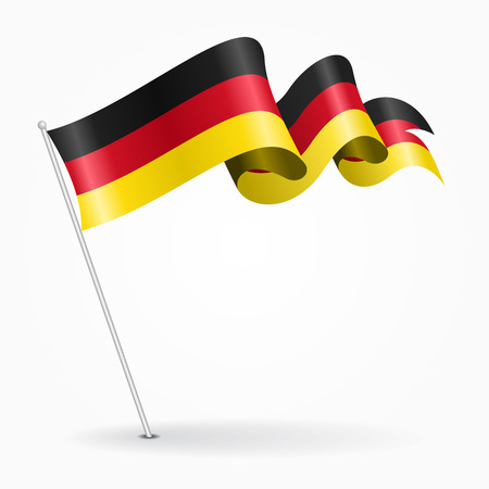 German pin wavy flag. Vector illustration.