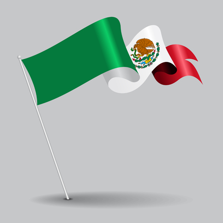 Mexican pin wavy flag. Vector illustration.