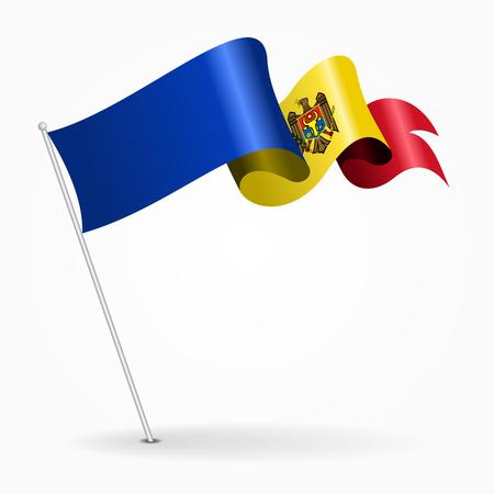 Moldovan pin wavy flag. Vector illustration.