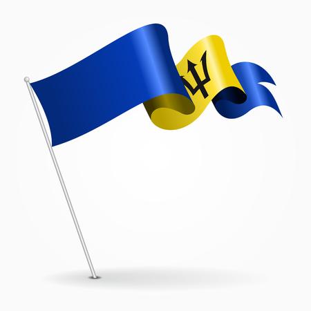 Barbados pin wavy flag. Vector illustration. Illustration
