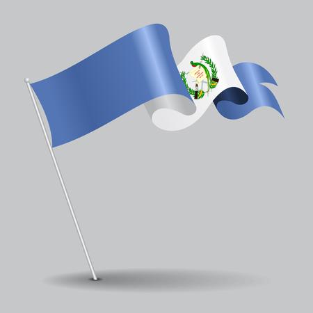 guatemalan: Guatemalan pin wavy flag. Vector illustration. Illustration