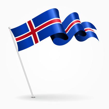 the icelandic flag: Icelandic pin wavy flag. Vector illustration.