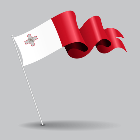 Maltese pin wavy flag. Vector illustration. Illustration