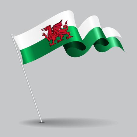 Bandiera ondulata pin di gallese. Illustrazione vettoriale.