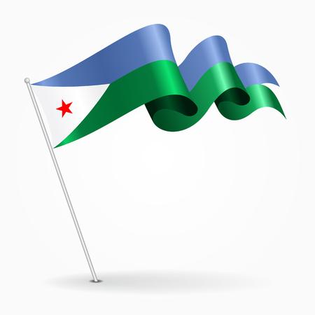 Djibouti pin wavy flag. Vector illustration.