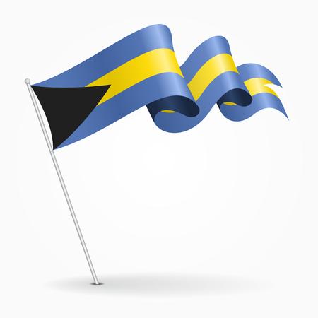 Bahamas pin wavy flag. Vector illustration.