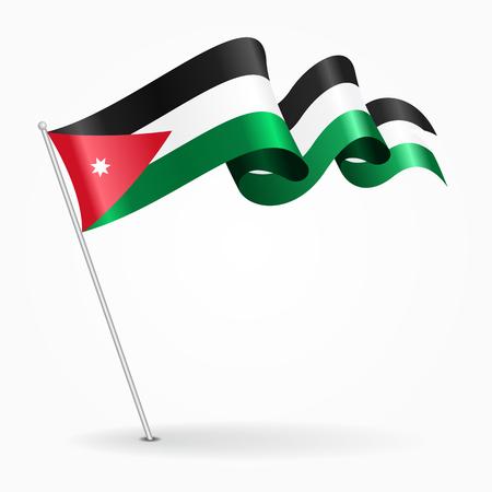 Jordanian pin wavy flag. Vector illustration.