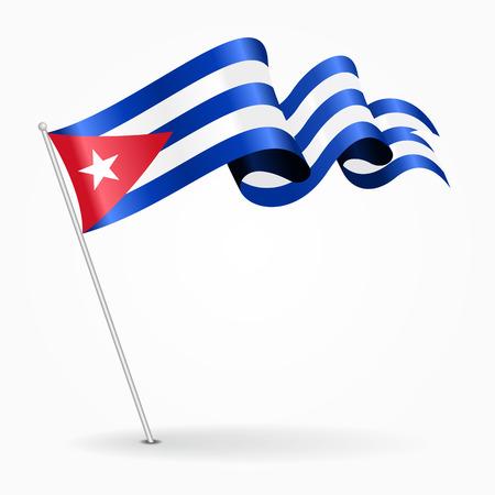 Bandera ondulada del perno cubano. Ilustración del vector. Vectores