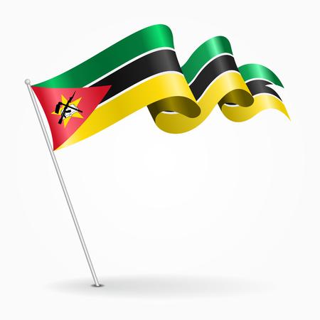Mozambique pin wavy flag. Vector illustration.
