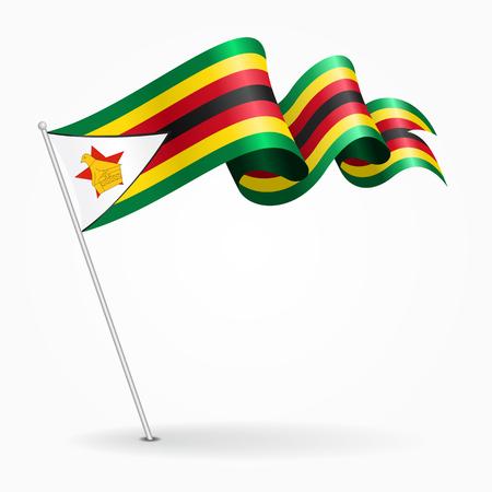 Zimbabwe pin wavy flag. Vector illustration. Illustration