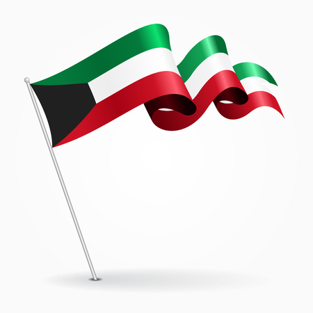 Kuwait pin wavy flag. Vector illustration. Illustration