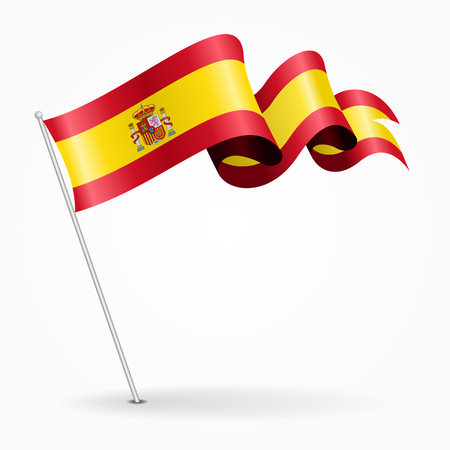 Spanish pin wavy flag. Vector illustration.