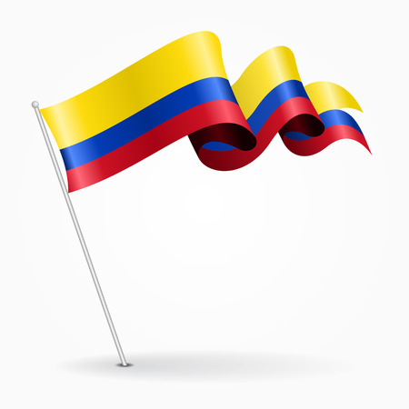 Colombian pin wavy flag. Vector illustration.
